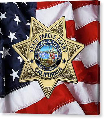California State Parole Agent Badge Over American Flag Canvas Print by Serge Averbukh