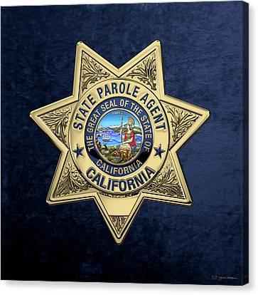 California State Parole Agent Badge Over Blue Velvet Canvas Print by Serge Averbukh