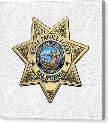 California State Parole Agent Badge Over White Leather Canvas Print by Serge Averbukh
