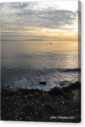 Canvas Print featuring the photograph California Sunset by Joan  Minchak