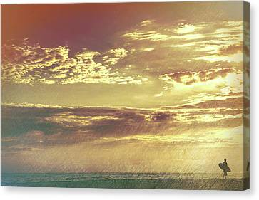 California Sunset Surfer Canvas Print