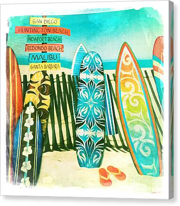 California Surfboards Canvas Print by Nina Prommer