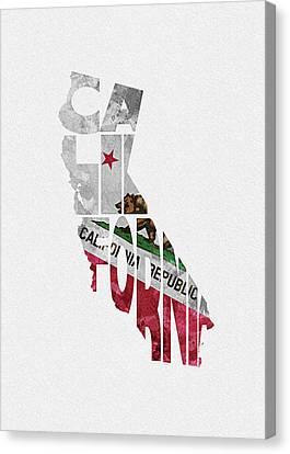 Sacramento Canvas Print - California Typographic Map Flag by Inspirowl Design