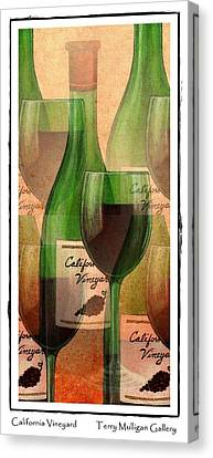 Web Gallery Canvas Print - California Vineyard Wine Bottle And Glass by Terry Mulligan