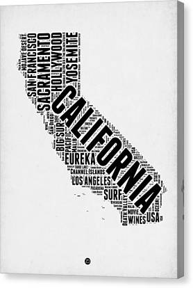 California Word Cloud Map 2 Canvas Print by Naxart Studio