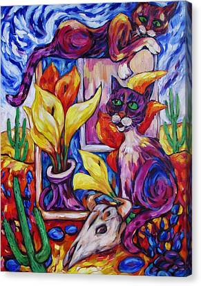 Canvas Print featuring the painting Calla Cacti Cat Izona by Dianne  Connolly