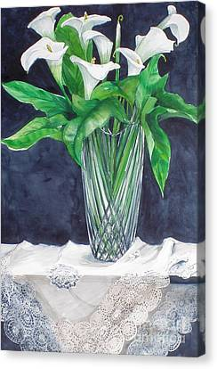 Calla Lilies And Lace Canvas Print