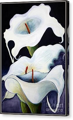 Canvas Print featuring the painting Calla Lilies.. by Jolanta Anna Karolska