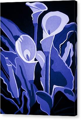 Calla Lilies Royal Canvas Print by Angelina Vick