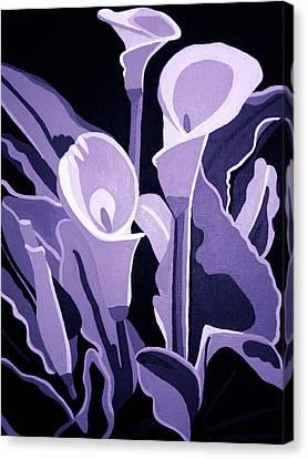 Calla Lillies Lavender Canvas Print by Angelina Vick