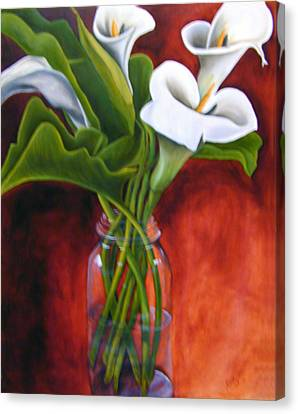 Calla Lilly On Red Canvas Print