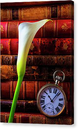 Calla Lily And Pocket Watch Canvas Print by Garry Gay