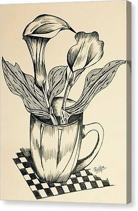 Calla Lily In A Cup Canvas Print