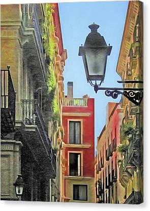 Streetlight Canvas Print - Calle De Barcelona by Nikolyn McDonald