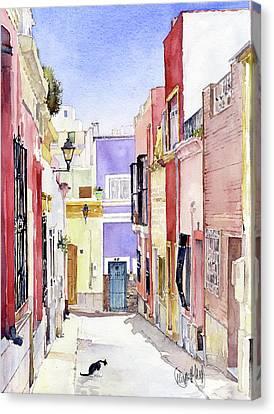 Calle En El Casco Antiguo Almeria Canvas Print