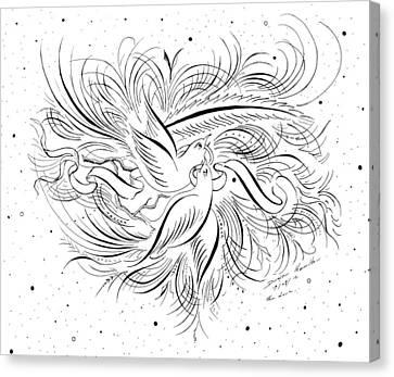 Animal Artist Canvas Print - Calligraphic Love Birds by Dwayne Hamilton