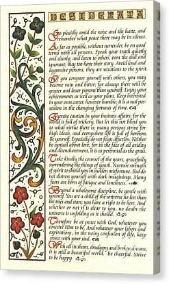 Calligraphy Desiderata Watercolor Wildflower Canvas Print