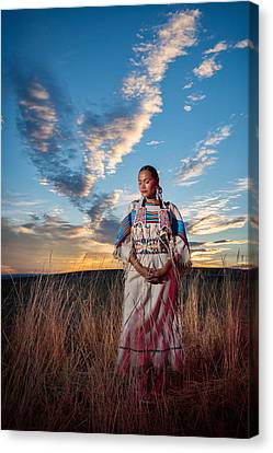 Native American Spirit Portrait Canvas Print - Calling The Spirit by Christian Heeb