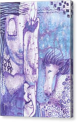 Canvas Print featuring the mixed media Calling Upon The Spirit Animals by Prerna Poojara
