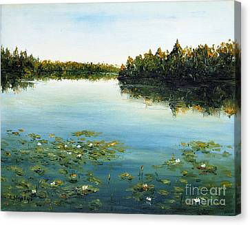 Canvas Print featuring the painting Calm by Arturas Slapsys