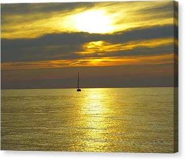 Calm Before Sunset Over Lake Erie Canvas Print by Donald C Morgan