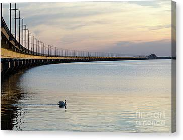 Calm Evening By The Bridge Canvas Print