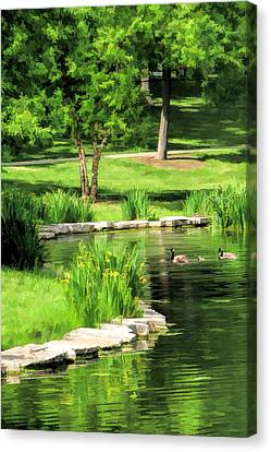 Canvas Print featuring the painting Calm Lake Ellyn by Christopher Arndt