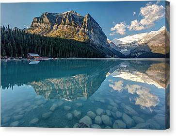 Calm Lake Louise Reflection Canvas Print by Pierre Leclerc Photography