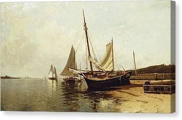 Calm Morning, Portland Harbor Canvas Print by Alfred Thompson Bricher