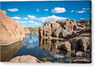 Calm Reflections At Watson Lake Canvas Print