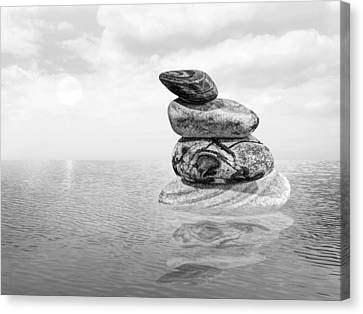 Balance In Life Canvas Print - Calm Waters In Black And White by Gill Billington