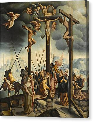 Calvary With The Three Crosses Canvas Print by Follower of Jan van Scorel