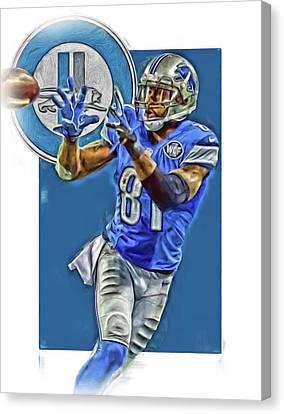 Calvin Johnson Detroit Lions Oil Art 2 Canvas Print by Joe Hamilton