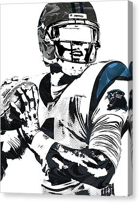 Canvas Print featuring the mixed media Cam Newton Carolina Panthers Pixel Art 3 by Joe Hamilton