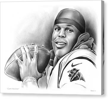 Football Canvas Print - Cam Newton by Greg Joens