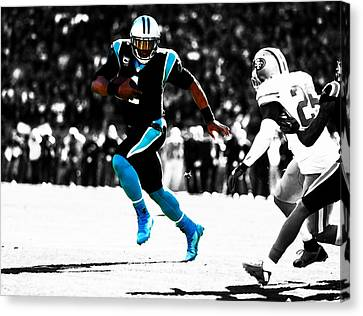 Cam Newton Out The Pocket Canvas Print by Brian Reaves