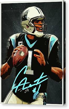 Cam Newton Canvas Print by Semih Yurdabak