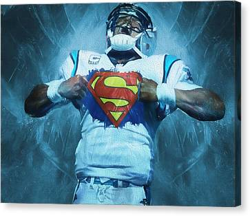 Cam Newton Superman Canvas Print by Dan Sproul