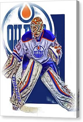 Edmonton Canvas Print - Cam Talbot Edmonton Oilers Oil Art by Joe Hamilton