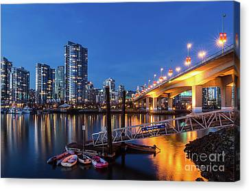 Vancouver At Night Canvas Print - Cambie Street Bridge Twilight by Victor Andre