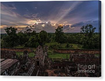Cambodia Temple Ruins Sunset Canvas Print by Mike Reid