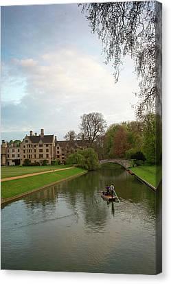 Cambridge Clare College Stream And Boat Canvas Print by Douglas Barnett