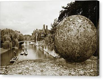 Cambridge Punting Sepia Canvas Print by Eden Baed