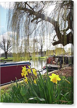 Canvas Print featuring the photograph Cambridge Riverbank In Spring by Gill Billington