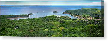 Camden Harbor From The Summit Of Mount Battie Canvas Print by Rick Berk