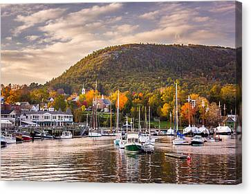Camden Harbor In The Fall Canvas Print by Benjamin Williamson