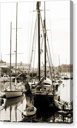 Canvas Print featuring the photograph Camden Ships by Linda Olsen