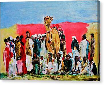 Camel Festival Canvas Print by Khalid Saeed