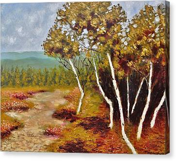 Canvas Print featuring the painting Camel Top Birches by Jason Williamson