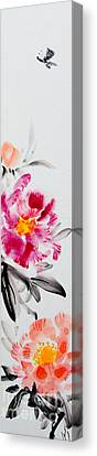 Camellia And Butterfly Canvas Print